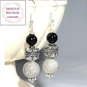 Sterling Silver Earrings w  Black Onyx Pewter Pave